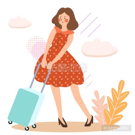 一个扁平风美少女穿着连衣裙推着拉杆箱