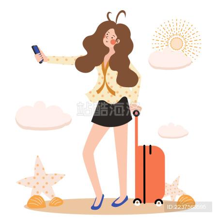 一个扁平风美少女推着拉杆箱在沙滩上自拍