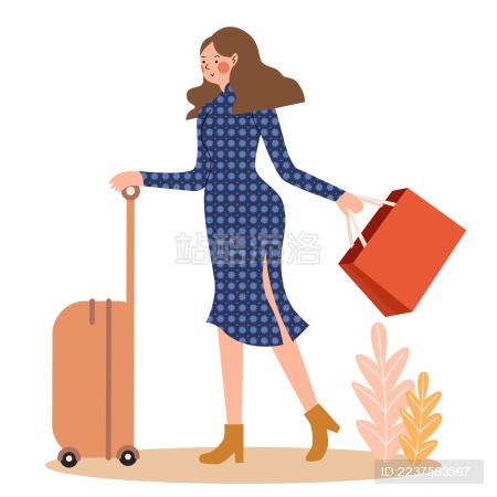 一个穿着旗袍扁平风美少女推着拉杆箱