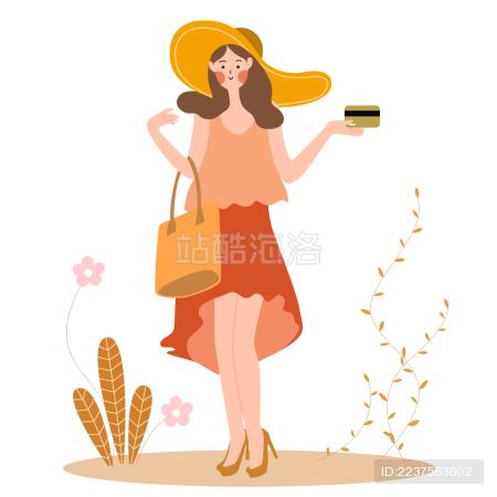 一个扁平风美少女拎着包拿着银行卡准备购物