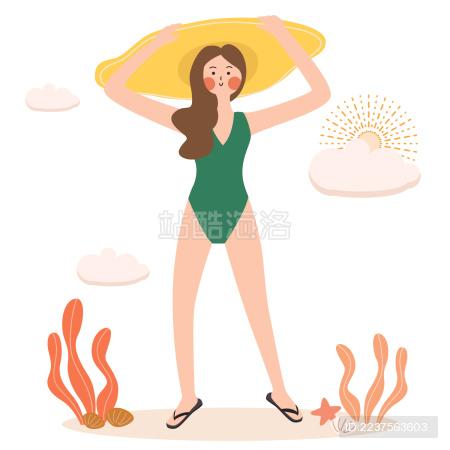 一个扁平风美少女穿着泳衣站在海滩上