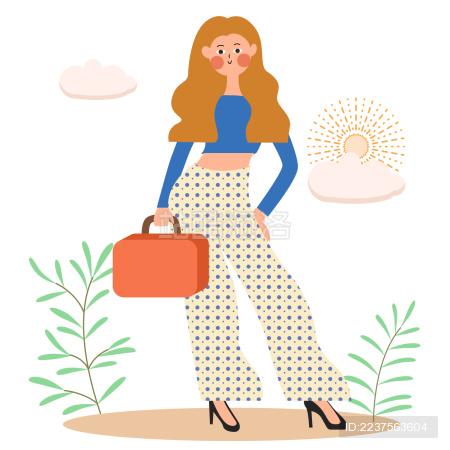 一个扁平风美少女提着包站在草丛中