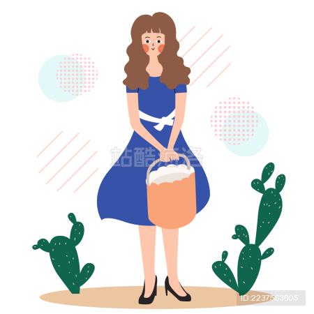 一个扁平风美少女提着篮子站在仙人掌边上