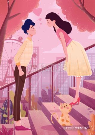 一对情侣在楼梯上约会