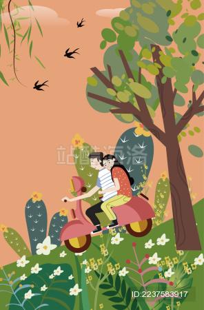 一对情侣在户外骑车的矢量插画