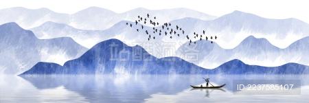 蓝色中国风水墨山水画
