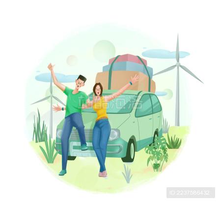 开车郊游的情侣