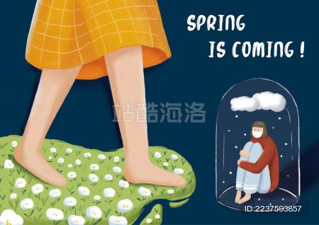春天女孩走在草坪上 生病女孩抱膝坐着