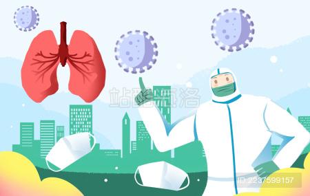 穿防护服的医护人员对肺部病毒解说插画
