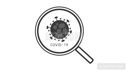 用放大镜观察和识别冠状病毒矢量插画