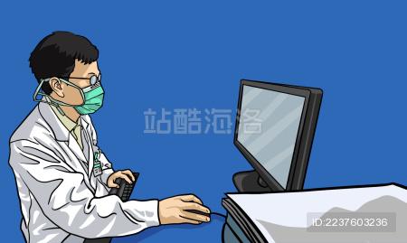 医生在电脑前工作
