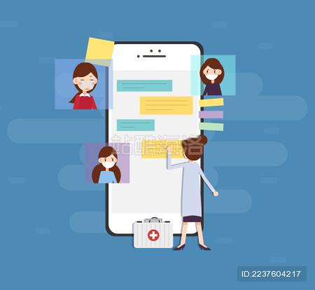 一位女医生在手机前接待患者