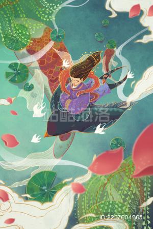 春天仙子骑着燕子飞翔在池塘之上