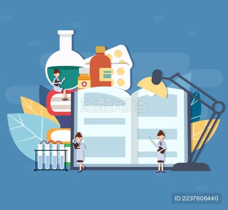 许多女医生小人在一摞书和药品上