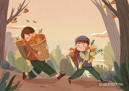 摘柿子的两个小孩