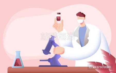 卡通手绘戴口罩医生研究病毒疫苗样本插画