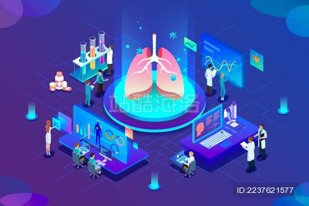 深蓝色背景2.5D医疗插画 研究肺部感染病毒