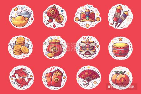 春节元宵节主题图标矢量插图