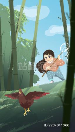 小女孩在竹林里逗鸡