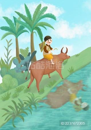 清明节骑在牛背上的男孩