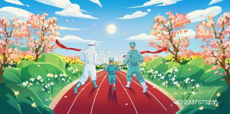 春天的阳光下医生护士带着病人赛跑