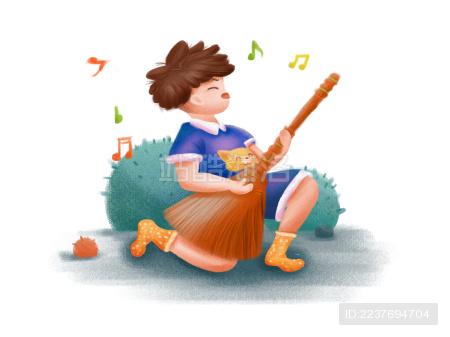 童趣-拿着扫把当吉他唱歌的音乐梦想家男孩