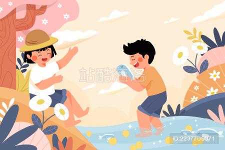 儿童捉鱼风景矢量插画