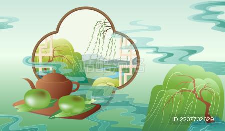 清明节气传统食品青团与中国风古典窗户