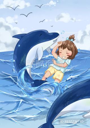 小女孩和海豚在海里玩耍