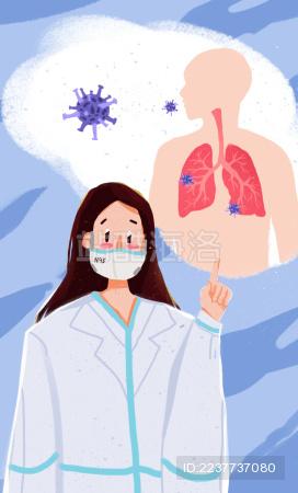 女性医护人员讲解肺炎