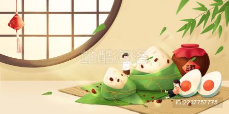 端午小孩吃粽子插画