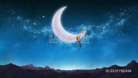 夜晚挂在月亮上的女孩超现实插画