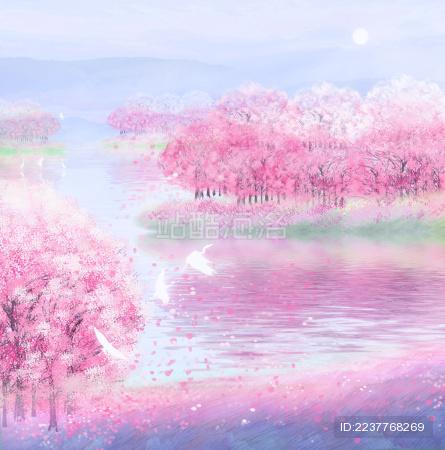 春天早晨樱花园的樱花盛开插画背景