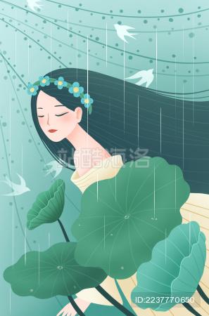 雨中荷仙子