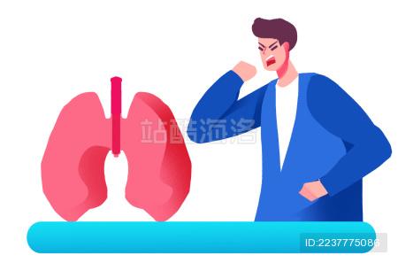 卡通手绘男子咳嗽肺炎插画