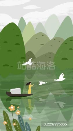 女孩乘坐小船在青山绿水中