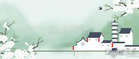 绿色江南水上乌篷船海报