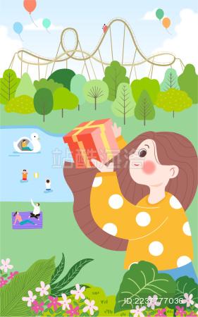 六一儿童节游乐园玩耍收礼物矢量插画海报