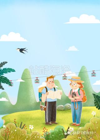 春夏户外燕子男女青年拿着相机地图郊游旅行