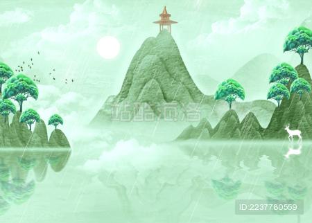 手绘中国风淡雅意境清明山水画
