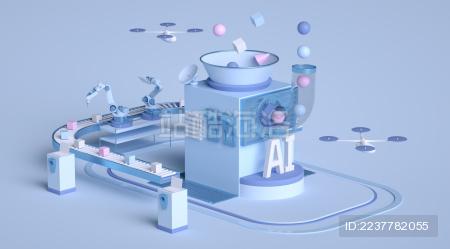 虚拟人工智能自动化生产线抽象3d场景