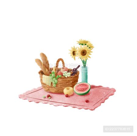 带水果面包和花的野餐图