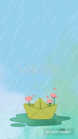 雨天水潭里纸船开出小花