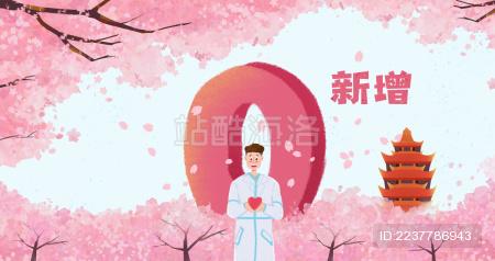 樱花树下的医护人员和武汉实现0新增