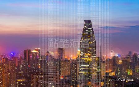 互联网大数据概念城市景观