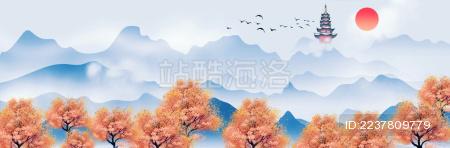 原创中国风古建筑水墨山水插画背景