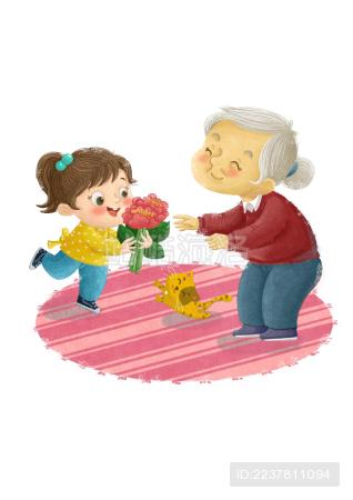 给老奶奶献花的小姑娘