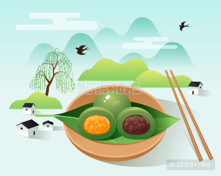 盘子里的青团与山边的房子和柳树