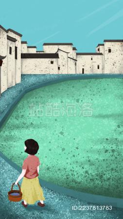 江南青瓦白墙 清明扫墓