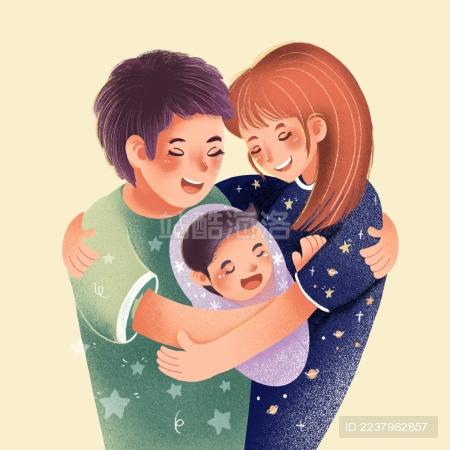 一家人温馨插画